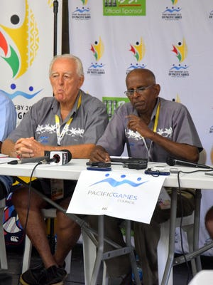 Members of the Pacific Games Council addressed the media yesterday to discuss their review of the venues as the community of Port Moresby, Papua New Guinea prepares for the 2015 Pacific Games. According to PGC President Vidhya Lakhan, the venues are all prepared and the athletes' village is one of the best ever experienced at the Pacific Games. Sitting are, from left: David Boyd, secretary general from New Caledonia; John Tierney, treasurer from Cook Islands; Lakhan and chief executive officer Andrew Minogue from Australia.