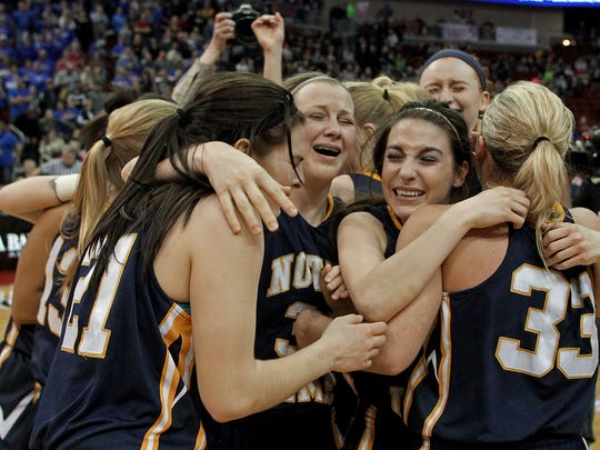 Burlington Notre Dame players won the Class 1-A state girls' basketball title last March. The Nikes are ranked No. 1 to start this season.