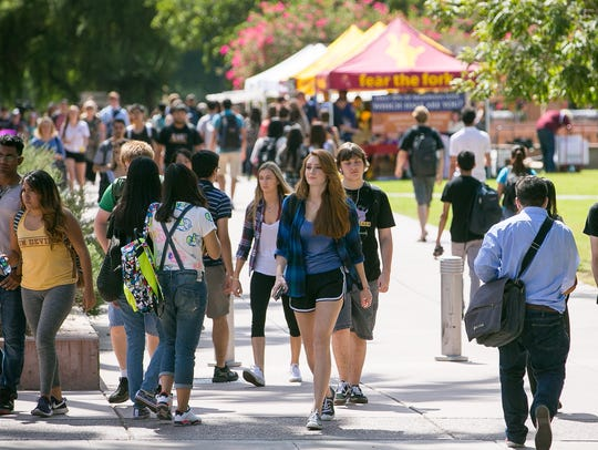 Students at the ASU Tempe Campus on Tuesday, September