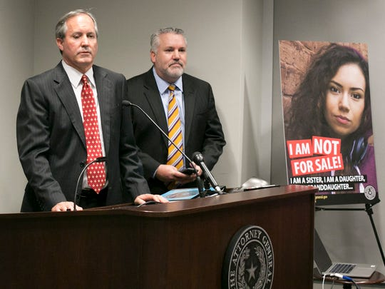 """Texas Attorney General Ken Paxton called sex trafficking """"one of the most heinous crimes facing our society"""" at a recent press conference. Estimates suggest there are 79,000 child victims of sex trafficking in Texas."""