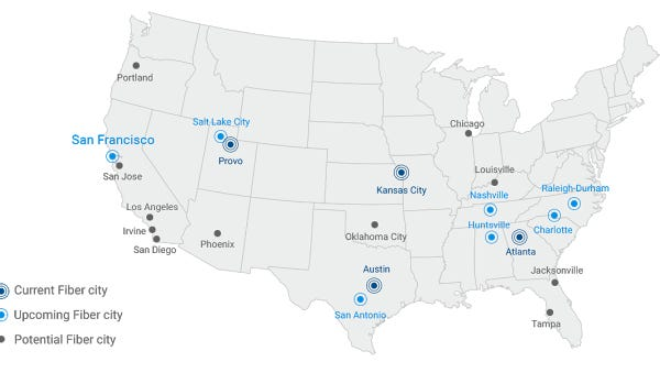 Map of locations targeted by Google Fiber