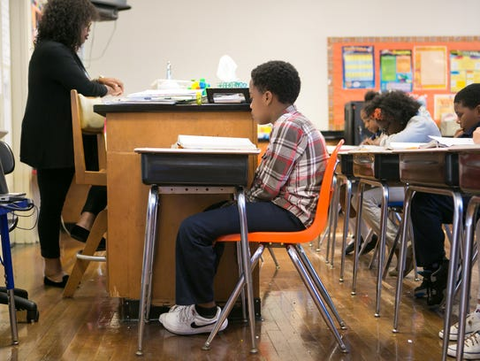Fifth-grader Raquan Carter, 11, one of the students