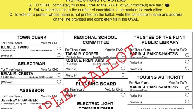 Here is a sample ballot for the Middleton town election, which takes place Saturday, June 20.