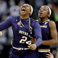 Arike Ogunbowale hits three-pointer at buzzer to lift Notre Dame to national title