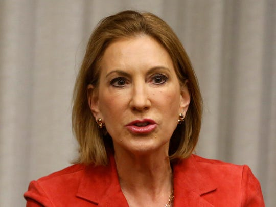 Republican Carly Fiorina talks with the Des Moines Register editorial board May 7 in downtown Des Moines.