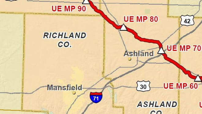 Utopia Pipeline touches the very northeast corner of Richland County.