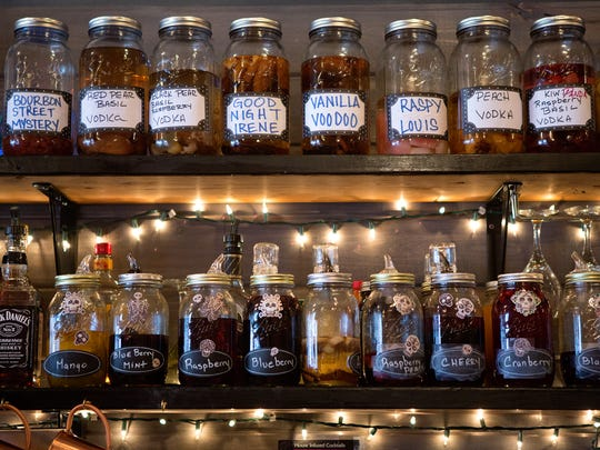 House-infused moonshine and vodka at Mo' Betta Gumbo in Loveland Monday, August 25, 2014.