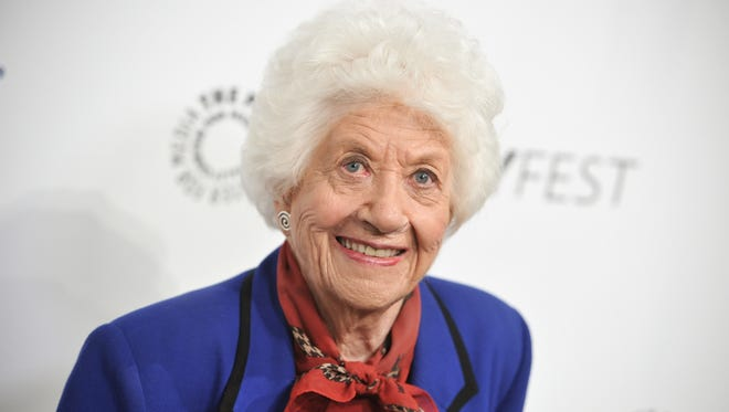 "In this Sept. 15, 2014, file photo, Charlotte Rae arrives at the 2014 PALEYFEST Fall TV Previews - ""The Facts Of Life"" Reunion in Beverly Hills, Calif. Rae recounts in her new autobiography, her own life bore little resemblance to the sitcom-grade serenity of her ""Facts of Life"" character, Edna Garrett, instead marked by challenges that included son Andy's autism and her husband's late-in-life disclosure that he was bisexual and wanted an open marriage."