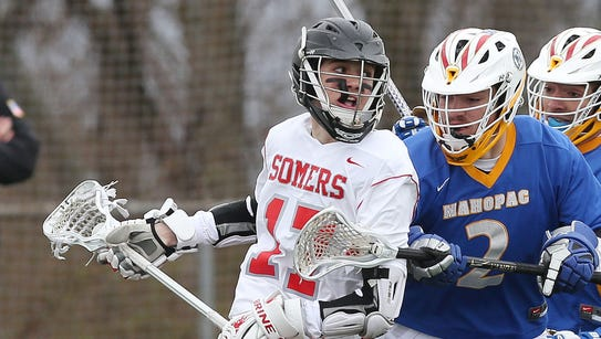 From left, Somers' Graham Roediger (17) works his way