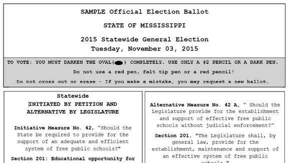 Sample ballot for Initiative 42 and 42A.
