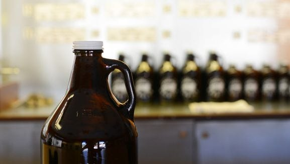 "Some local breweries will refill other breweries' large ""growler"" bottles."