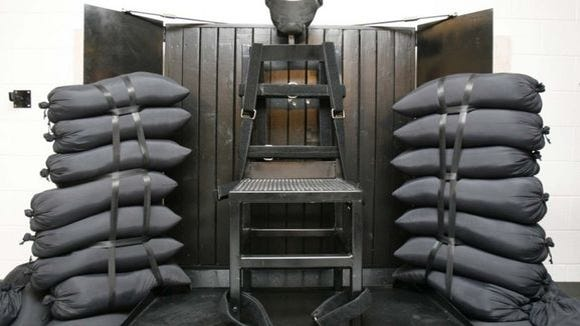 Firing squad execution chamber at Utah State Prison in Draper.