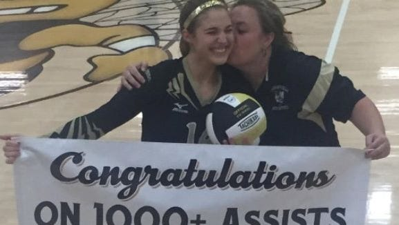 Hayesville's Maddie Payne and coach Tammy Dills.