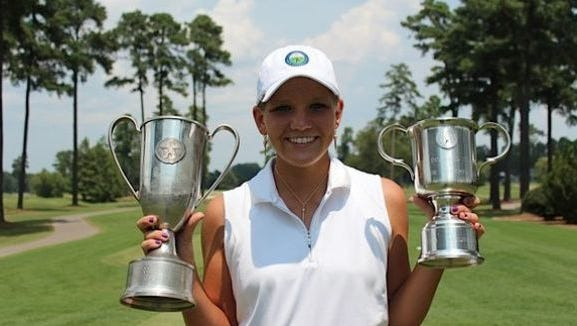 North Buncombe junior Callista Rice has committed to play college golf for Clemson. She is shown here after winning the Dogwood state championship tournament for a second time.