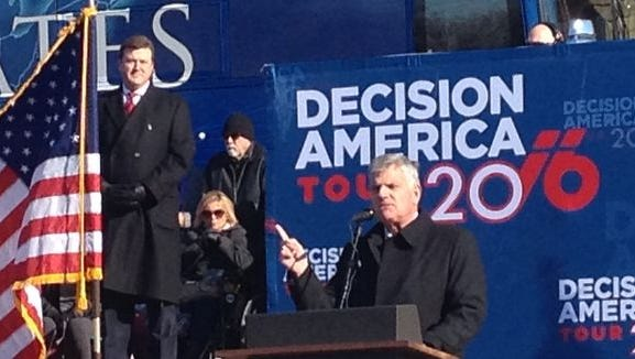 Evangelist Franklin Graham kicked off his nationwide Decision America prayer rally tour in Des Moines, Iowa, Tuesday.
