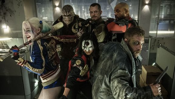 Harley Quinn (Margot Robbie, from left), Killer Croc (Adewale Akinnuoye-Agbaje), Katana (Karen Fukuhara), Rick Flagg (Joel Kinnaman), Deadshot (Will Smith) and Captain Boomerang (Jai Courtney) are ready for action in 'Suicide Squad.'