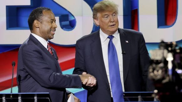 Ben Carson and Donald Trump at the Feb. 25, 2016, GOP
