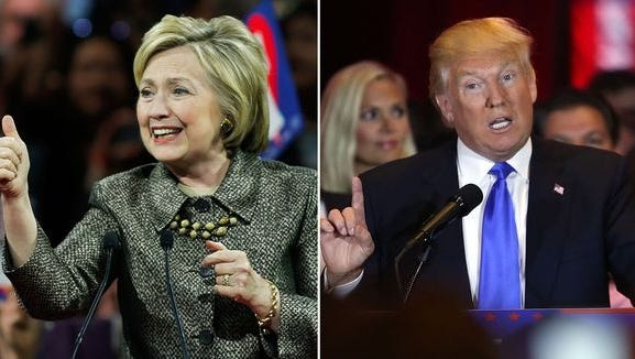 Hillary Clinton and Donald Trump speak at their respective primary night events on April 26, 2016.