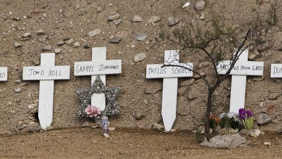 Makeshift memorial near the mass shooting site in Tucson in 2011.