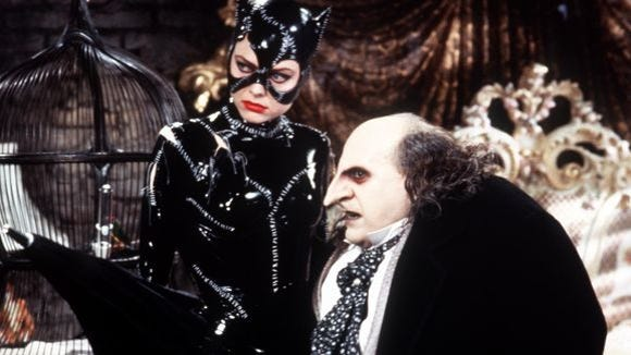 "Michelle Pfeiffer plays Catwoman and Danny DeVito plays Penguin in ""Batman Returns."""