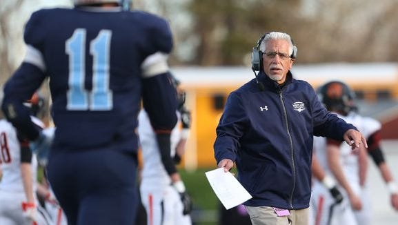 Westlake and coach John Castellano, pictured during the 2015 Class B state semifinals, won their season opener 41-8 over Putnam Valley.