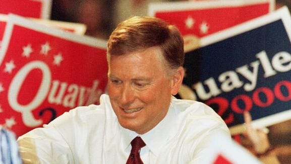 Former Vice President Dan Quayle shakes hands with supporters at Huntington High School in Huntington, Ind., April 14, 1999.