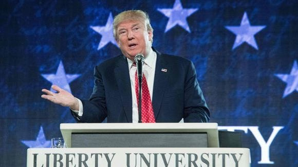 President Donald Trump addresses the graduating class of Liberty University on May 13, 2017 as the commencement speaker.