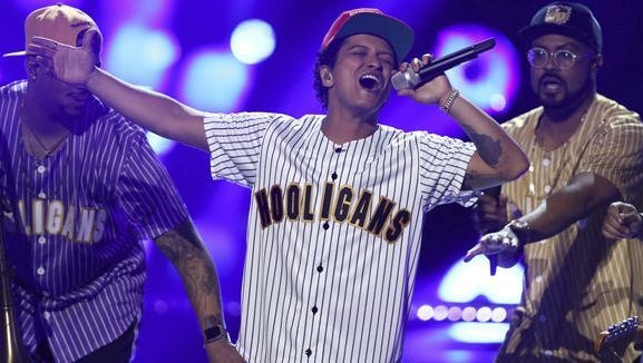 Bruno Mars, seen here in an earlier 2017 performance, played a sold-out show at FedExForum on Sunday night.
