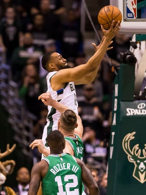 Bucks forward Jabari Parker shoots during the second quarter.