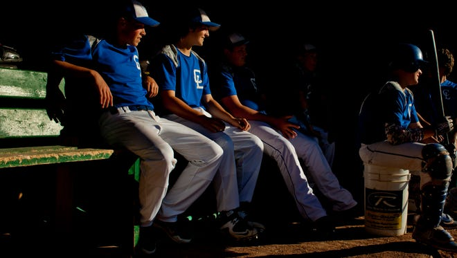 Croswell-Lexington players watch from the dugout