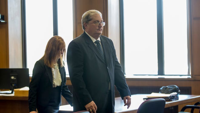 Mark Jones walks out of the courtroom after waiving his preliminary examination Tuesday, May 16, 2017, at the St. Clair County Courthouse in Port Huron.