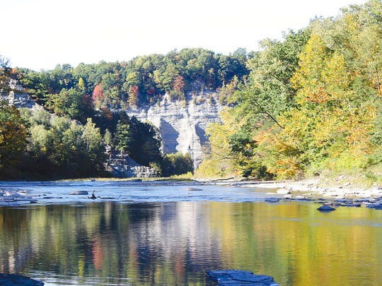 This Oct. 12, 2016, photo shows the Cattaraugus Creek through the Erie County side of Zoar Valley in Gowanda, N.Y.