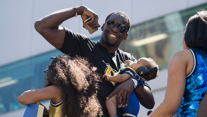 Golden State Warriors forward Draymond Green (23) during the Warriors 2017 championship victory parade in downtown Oakland.