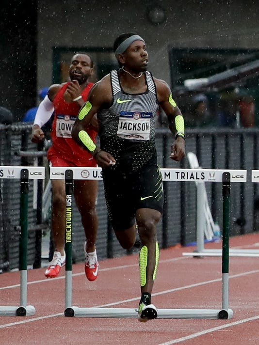 Bershawn Jackson runs during his heat in the men's 400-meter hurdles at the U.S. Olympic Track and Field Trials, Thursday, July 7, 2016, in Eugene Ore. (AP Photo/Marcio Jose Sanchez)