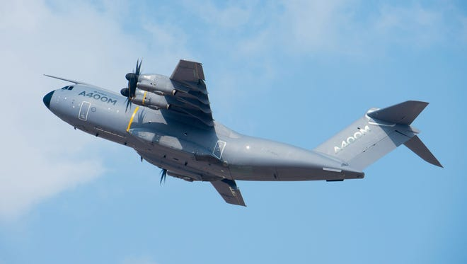 An undated picture provided by Airbus shows an A400M plane. An Airbus A400M military cargo plane with seven people on board crashed near the airport of Sevilla, Spain on May 9.