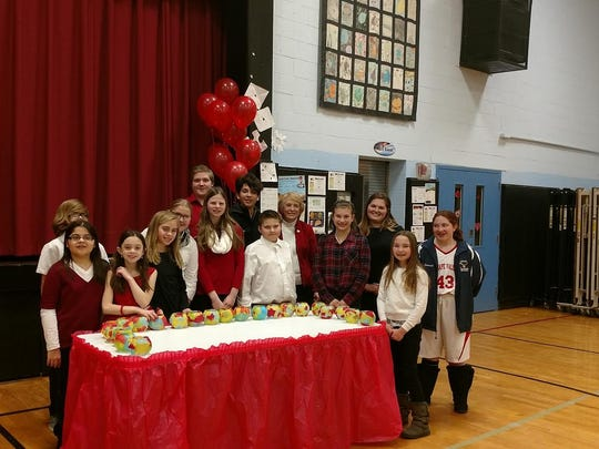 Mrs. Jane Morin and Ms. Danielle Painter with the new S.A.D.D. inductees at Netcong School.