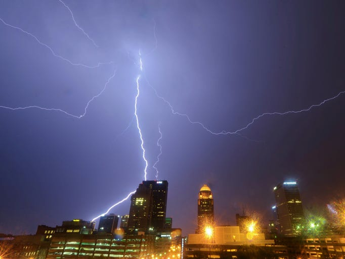 A thunder storm blew over Louisville Saturday night bringing a display of lightning over the skyline. July 26, 2014.