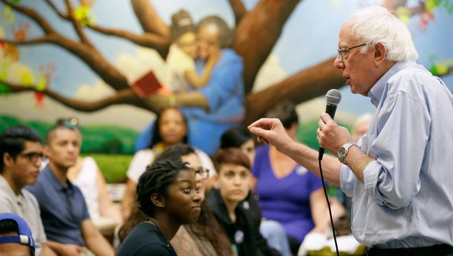 Democratic presidential candidate, Sen. Bernie Sanders, I-Vt., speaks during the Des Moines Youth Summit, Sunday, Sept. 27, 2015, at Creative Visions in Des Moines, Iowa.
