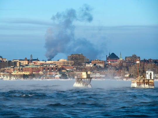 Steam rises from Lake Champlain as seen from Oakledge