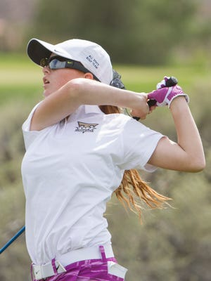 Desert Hill's Tori Thomas hits off the tees during a Region 9 tournament. Thomas is also keeping the family tradition alive after committing during her sophomore year to play for the SUU women's golf team.
