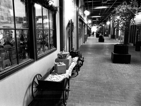 Oct. 10, 1984: Goodmans Alley, a courtyard of specialty shops that had opened in the fall at the Village Gate Square as part of a developer's plan to bring more upscale stores to the shopping center. The area was formerly Peddlers Village.