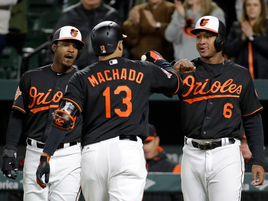 Baltimore Orioles' Adam Jones, let, and Jonathan Schoop,