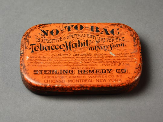"This 1880 tin held No-To-Bac, a chewing gum aimed at stopping cigarette addiction. The remedy was marketed to men as a way  to restore manly vigor and virility imperiled by nicotine use. The tin is among the objects in the ""Pick Your Poison"" exhibit opening March 23 at the McClung Museum of Natural History and Culture."