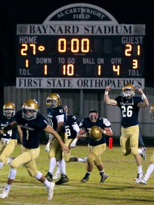 Salesianum celebrates its win over Middletown in a DIAA Division I semifinal last season at Baynard Stadium. Baynard is the busiest high school football venue in Delaware, serving as home field for Sallies, Howard, St. Elizabeth and Delaware Military Academy.