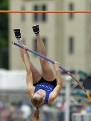 Spring Grove's Nathalie Elliot, competes in the 3A pole vault, during the PIAA Track and Field Championships Friday May 26, 2017.