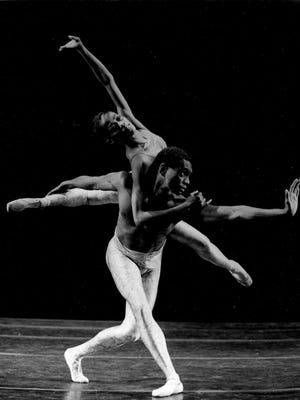 """Karen Brown and Ronald Perry in """"Dialogues,"""" 1991. Brown is now executive director of Garth Fagan Dance."""