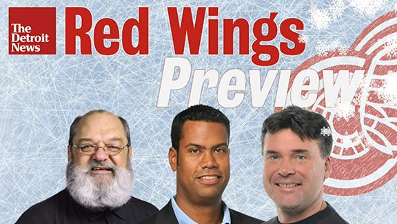 Gregg Krupa, from left, John Niyo and Ted Kulfan discuss the Red Wings' playoff chances in the first of The Detroit News' monthly TV hockey shows.