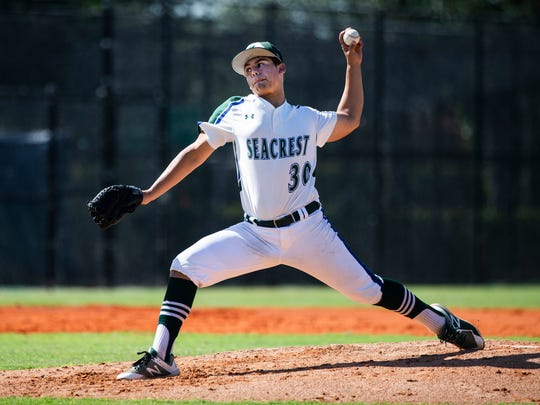Brandon Espinosa (30) pitches during the Class 2A regional semifinal at Seacrest Country Day School in Naples on Wednesday, May 9, 2018.