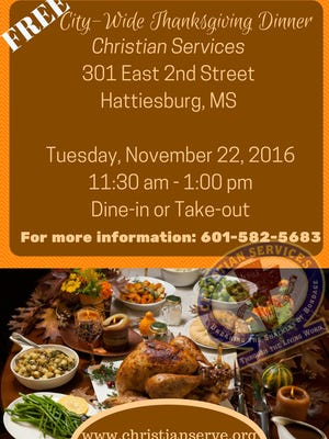Christian Services will hold its annual Thanksgiving dinner from 11:30 a.m.-1 p.m. Nov. 22.