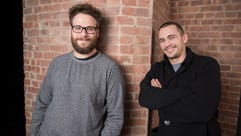 Friends and costars James Franco and Seth Rogen,.